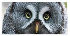 Great Grey Owl Closeup Bath Towel