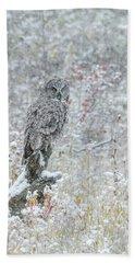 Great Grey Owl In Snow Hand Towel