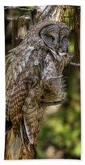 Great Grey Owl In Windy Spring Bath Towel