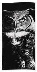 Great Horned Dragon Owl Bath Towel