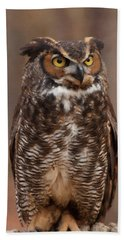 Great Horned Owl Digital Oil Bath Towel by Chris Flees