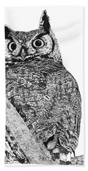Great Horned Owl In A Tamarisk Hand Towel