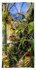 Great Horned Owl Peeking At It's Prey Bath Towel