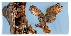 Great Horned Owl Returning To Her Nest Bath Towel