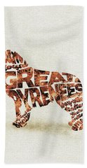 Bath Towel featuring the painting Great Pyrenees Watercolor Painting / Typographic Art by Inspirowl Design