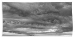 Great Salt Lake Clouds At Sunset - Black And White Hand Towel