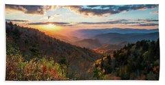 Great Smoky Mountains National Park Nc Scenic Autumn Sunset Landscape Bath Towel