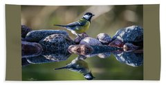 Great Tit On The Stone Bath Towel