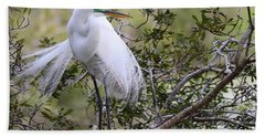 Great White Egret Hand Towel