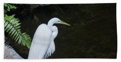 Great White Egret Hand Towel