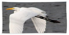 Great White Egret In Flight Bath Towel by Laurel Talabere