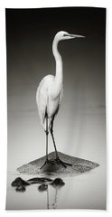Great White Egret On Hippo Hand Towel