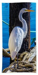Great White Heron Hand Towel by Garry Gay