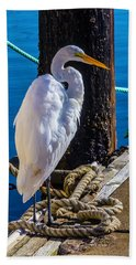 Great White Heron On Boat Dock Hand Towel