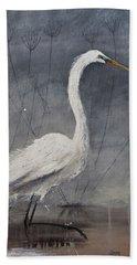 Great White Heron Original Art Hand Towel