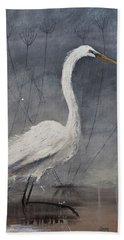 Great White Heron Original Art Bath Towel by Gray Artus