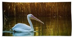 Great White Pelican Swimming On Lake Hand Towel