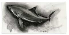 Great White Shark Drawing Bath Towel