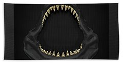 Great White Shark Jaws With Gold Teeth  Bath Towel by Serge Averbukh