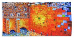 Bath Towel featuring the painting Wailing Wall Greatness In The Evening Jerusalem Palette Knife Painting by Georgeta Blanaru