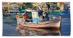 Greece Fisherman Bath Towel