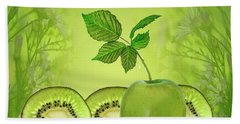Greeeeeen Hand Towel by Shirley Mangini