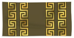 Greek Gold Pattern - Chuck Staley Bath Towel by Chuck Staley