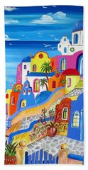 Greek Islands Fantasy Village Santorini Hand Towel