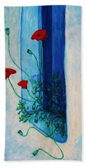 Bath Towel featuring the painting Greek Poppies by Xueling Zou
