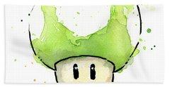 Green 1up Mushroom Bath Towel