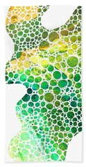 Green Abstract Art - Colorforms 4 - Sharon Cummings Bath Towel