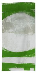 Green Abstract Circle 2 Vertical- Art By Linda Woods Hand Towel