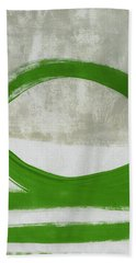 Green Abstract Circle Vertical- Art By Linda Woods Hand Towel