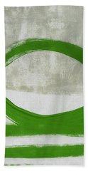 Green Abstract Circle Vertical- Art By Linda Woods Bath Towel
