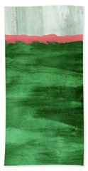 Green And Coral Landscape- Abstract Art By Linda Woods Bath Towel