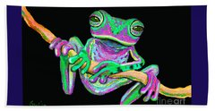 Green And Pink Frog Bath Towel