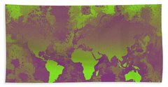 Green And Purple World Map Bath Towel