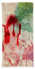 Green And Red Color Splash Hand Towel