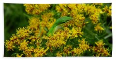 Green Anole Hiding In Golden Rod Bath Towel