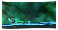 Green Anole Lizard Bath Towel