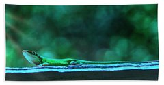 Green Anole Lizard Hand Towel