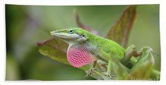 Green Anole Bath Towel by Terri Mills