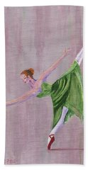 Hand Towel featuring the painting Green Ballerina by Jamie Frier