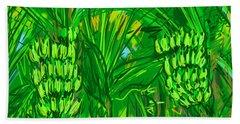 Hand Towel featuring the digital art Green Bananas by Jean Pacheco Ravinski