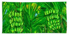 Bath Towel featuring the digital art Green Bananas by Jean Pacheco Ravinski