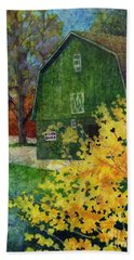 Bath Towel featuring the painting Green Barn by Hailey E Herrera