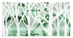 Green Bicycle White Forest Silhouette Bath Towel