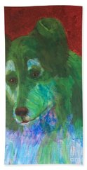 Bath Towel featuring the painting Green Collie by Donald J Ryker III