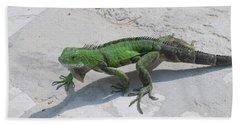 Green Common Iguana Creeping Across A Walkway Hand Towel by DejaVu Designs