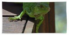 Green Common Iguana On The Edge Of A Bridge Bath Towel by DejaVu Designs
